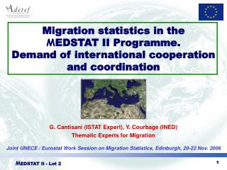 G. Cantisani (ISTAT Expert), Y. Courbage (INED)  Thematic Experts for Migration