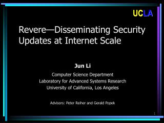 Revere — Disseminating Security Updates at Internet Scale