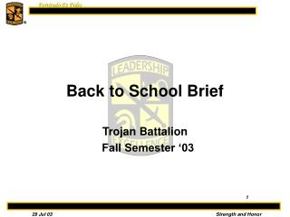 Back to School Brief