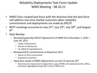 Reliability Deployments Task Force Update  WMS Meeting - 08.10.11