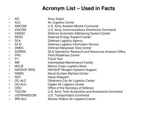 Acronym List – Used in Facts