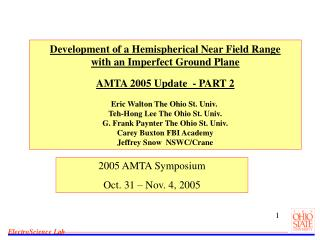 2005 AMTA Symposium Oct. 31 – Nov. 4, 2005