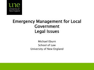 Emergency Management for Local Government  Legal Issues