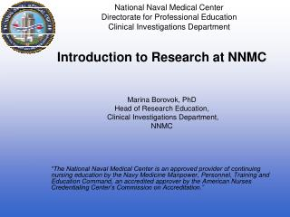 Introduction to Research at NNMC Marina Borovok, PhD Head of Research Education,