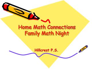Home Math Connections Family Math Night