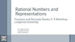 Rational Numbers and Representations