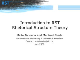 Introduction to RST Rhetorical Structure Theory