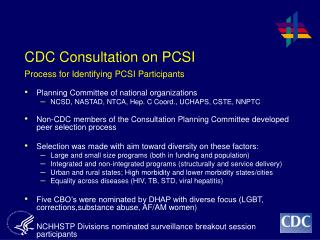 CDC Consultation on PCSI Process for Identifying PCSI Participants
