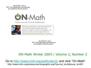 ON-Math Winter 2003 | Volume 2, Number 2