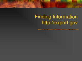 Finding Information export