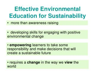 Effective Environmental Education for Sustainability