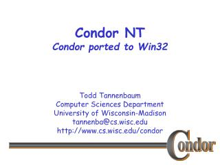 Condor NT Condor ported to Win32