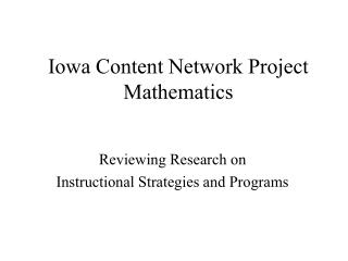 Iowa Content Network Project Mathematics