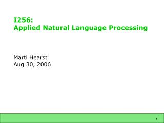 I256:  Applied Natural Language Processing