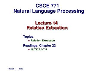 Lecture 14  Relation Extraction