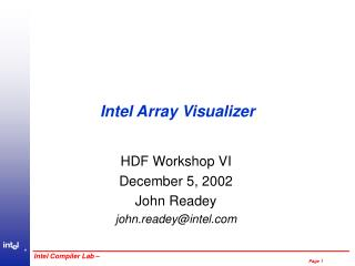 Intel Array Visualizer