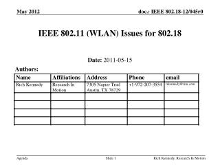 IEEE 802.11 (WLAN) Issues for 802.18