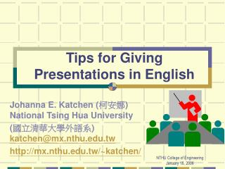Tips for Giving Presentations in English