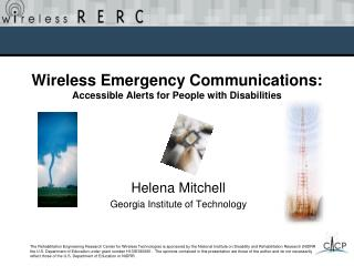 Wireless Emergency Communications: Accessible Alerts for People with Disabilities