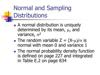 Normal and Sampling Distributions