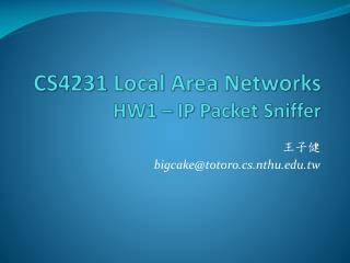 CS4231 Local Area Networks HW1 – IP Packet Sniffer