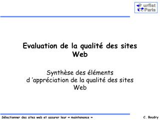 Evaluation de la qualité des sites Web
