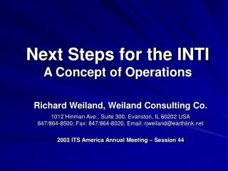 Next Steps for the INTI A Concept of Operations