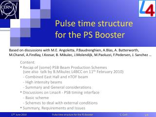 Pulse time structure for the PS Booster