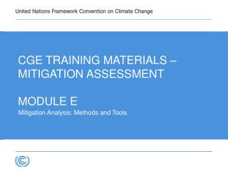 Cge  TRAINING MATERIALs – MITIGATION ASSESSMENT Module E