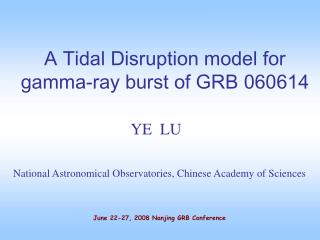 A Tidal Disruption model for gamma-ray burst of  GRB 060614