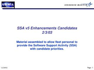 SSA v5 Enhancements Candidates 2/3/03
