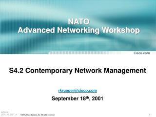 NATO  Advanced Networking Workshop