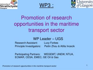 WP3 : Promotion of research opportunities in the maritime transport sector