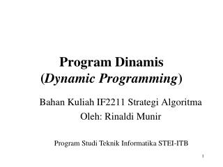 Program Dinamis ( Dynamic Programming )