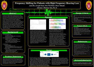Frequency Shifting for Patients with High Frequency Hearing Loss Jack Ho, Joseph Yuen, Nate Werbekes, Kuya Takami Adviso
