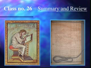 Class no. 26  –  Summary and Review