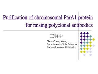 Purification of chromosomal ParA1 protein for raising polyclonal antibodies