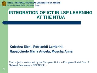 INTEGRATION OF ICT IN LSP LEARNING  AT THE NTUA