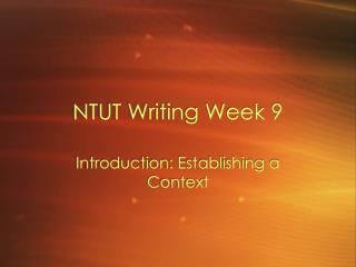 NTUT Writing Week 9