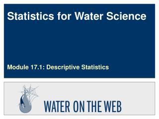 Statistics for Water Science