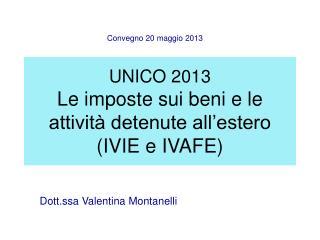UNICO 2013 Le imposte sui beni e le attività detenute all'estero (IVIE e IVAFE)