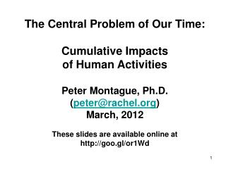 The Central Problem of Our Time: Cumulative Impacts of Human Activities Peter Montague, Ph.D.