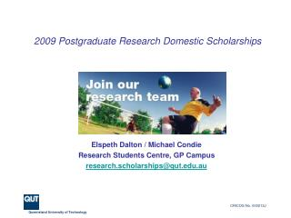 2009 Postgraduate Research Domestic Scholarships