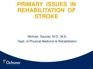 PRIMARY  ISSUES  IN  REHABILITATION  OF  STROKE