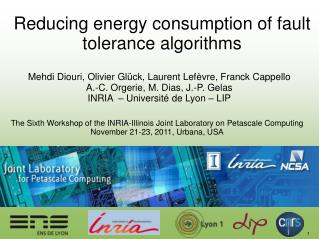 Reducing energy consumption of fault tolerance algorithms