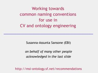Working towards  common naming conventions  for use in  CV and ontology engineering