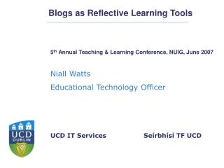 Blogs as Reflective Learning Tools