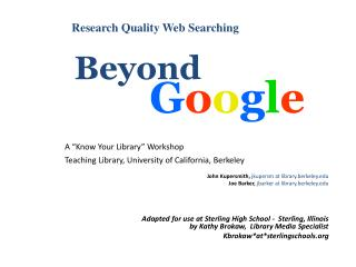 Research Quality Web Searching