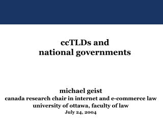 michael geist canada research chair in internet and e-commerce law