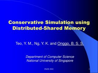 Conservative Simulation using Distributed-Shared Memory